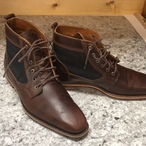 Other - Helm Low Lee Boots. Leather w/ denim. Gently used